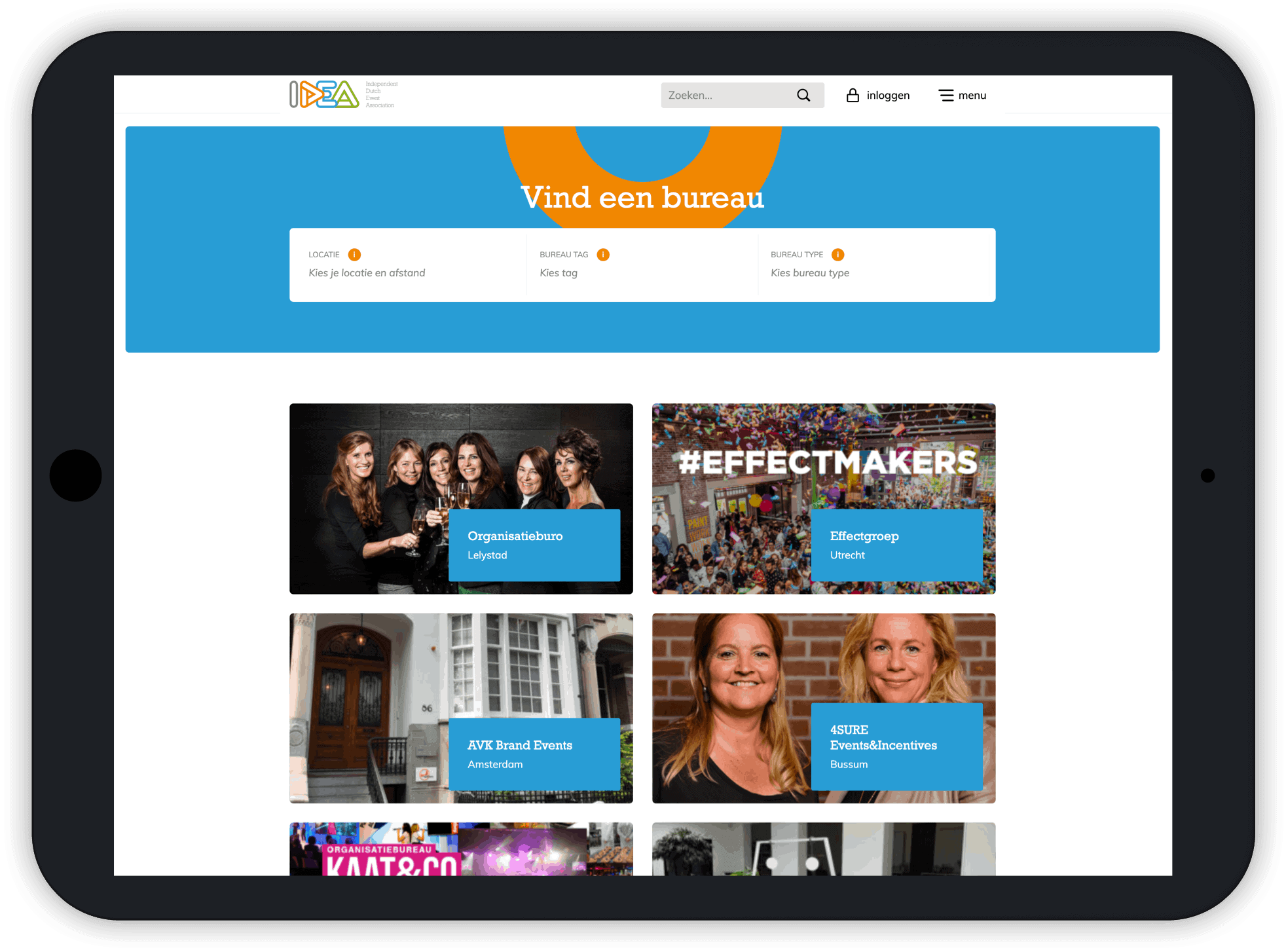 zoek een bureau functionaliteit responsive design
